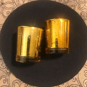 Gold Votive Candle Holders (2)